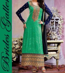 Beaiutiful Brides Galleria Party Wear Stylish Salwar Kameez Punjabi Suit Dress India 2015 Green Blue Designs