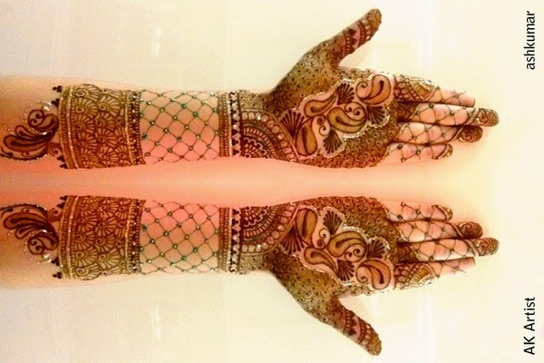 Beautiful Bridal Dulhan Henna Mehndi Designs 2015 for Full Hands Wedding Eid Party Indian