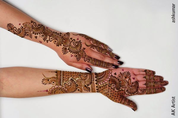 Beautiful Bridal Henna Mehndi Designs 2015 for Full Hands Wedding Eid Party Indian