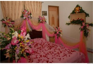 Beautiful Bridal Wedding Bedroom Decoration Designs Ideas with Flowers Pakistan India Karachi
