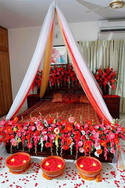 Beautiful Bridal Wedding Bedroom Decoration Ideas with Flowers Red Rose Pakistan India Karachi