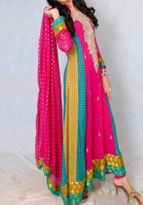 Beautiful Multiple Color Panel Frocks Designs 2015 or Colorful Dresses Wedding, Engagement, Party