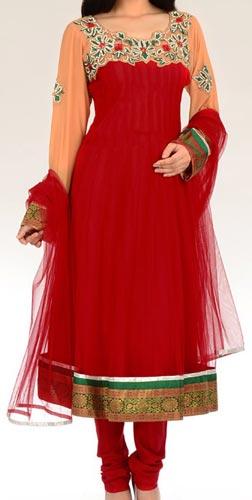 Beautiful Net Red Colors Frocks Suits Dress 2015 Anarkali Neck Designs