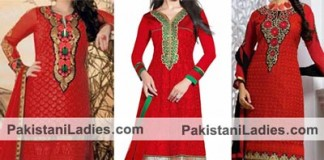Beautiful Red Dresses Salwar Kameez Suits & Neck Gala Designs