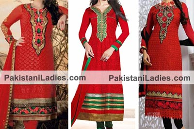 Beautiful Red Dresses Salwar Kameez Suits & Neck Gala Designs