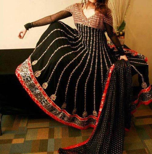 Black Beautiful Kalidar Suits, Kaliyon Kali Wali Frocks Designs 2015 Pakistan India