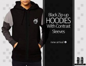 Black Men Boys Hoodies Winter 2015 Stylish New Arrival Zip Up Pull Over Prices Pakistan