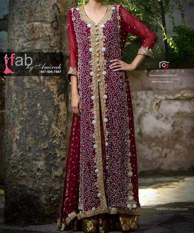 Bridal-Pakistani-Double-Open-Panel-Shirts-Style-Frock-Gown-Dresses ...
