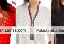Button Lace Chinese Collar Neck Gala Kurta, Collar Neck Shirts, Collar Neck Salwar Kameez Designs 2015