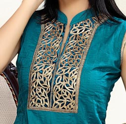 Collar Ban Cotton Churidar Suits Neck Gala Designs Patterns Images 2015