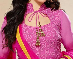 Cotton Churidar Suits Neck Gala Designs Patterns Images 2015