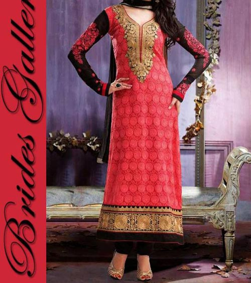 Exclusive Colorful Beaiutiful Brides Galleria Party Wear Stylish Salwar Kameez Punjabi Suit Dress India 2015 Red Black Designs