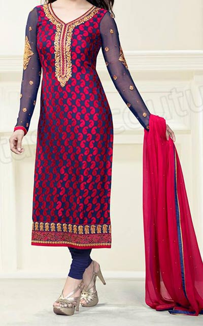 Exclusive-Long Salwar Kameez Designs 2015 Fashion Trends in Indian Suit Neck Gala