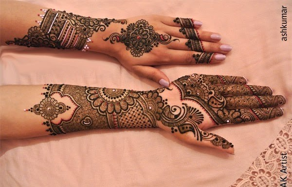 Fancy Beautiful Bridal Henna Mehndi Designs 2015 for Full Hands Wedding Eid Party