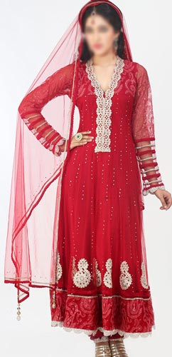 Fancy Net Red Colors Frocks Suits Dress 2015 Anarkali Umbrella Party Wedding