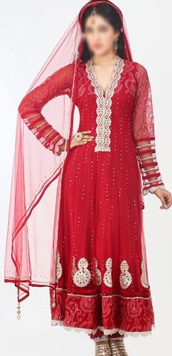 Fancy Net Red Colors Frocks Suits Dress 2015 Anarkali Umbrella Party Wedding