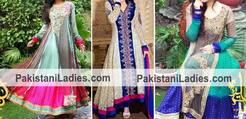 Fashionable Colorful Gown Dresses Plates Wali Shirts Frock Kameez 2015 Pakistan India