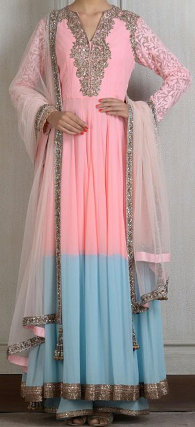 Kalidar Frock Suits Manish Malhotra 2015 Designs Peach and Sky Blue Color Blocked Kurta