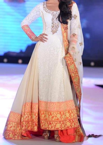 Kalidar Frock Suits Manish Malhotra 2015 Designs Priyanka Chopra Ivory Chikankari Kalidar