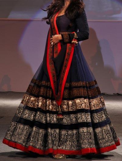 Kalidar Frock Suits Manish Malhotra 2015 Designs Shilpa Shetty Navy Blue Kalidar