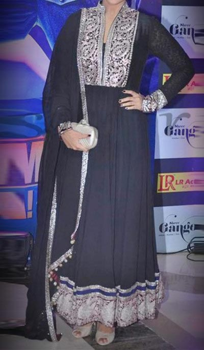 Kalidar Frock Suits Manish Malhotra 2015 Designs Sonakshi Sinha Black Georgette Kalidar