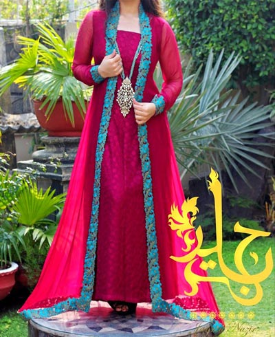 Long-Shirt--Pakistani-Double-Open--Panel-Style-Frock-Gown-Dresses-Collection-2015-Plazo-Palazzo-Designs