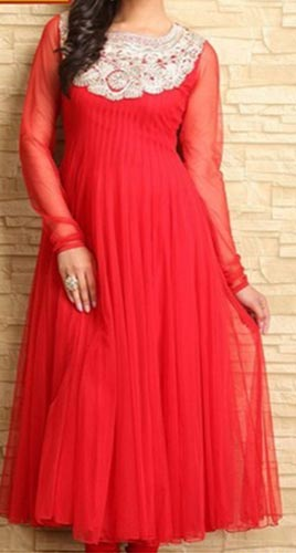 Meena-Bazaar Red Colors Frocks Suits Dress 2015 Anarkali Umbrella