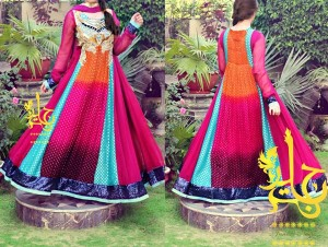 Multiple Color Panel Frocks Designs 2015 or Colorful Dresses Fashion India Pakistan Jannat Nazir
