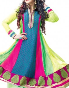 Multiple Color Panel Frocks Designs 2015 or Colorful Dresses Fashion India Pakistan anarkali-suit