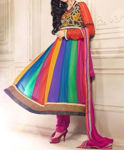 Multiple Color Panel Frocks Designs 2015 or Colorful Dresses Wedding, Engagement, Party Fashion India Pakistan
