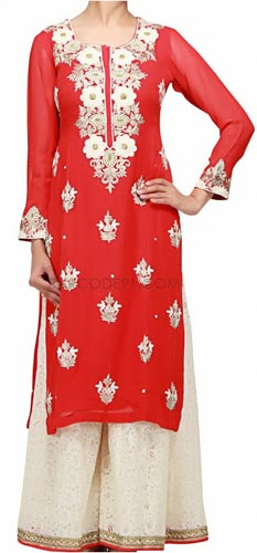 New Plazo Pants Trousers 2015 Suit Designs Stylish Palazzo Long Shirts for Girls India Red Off White