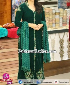 Pakistani Actress Sanam Jung Dresses Pics Jago Pakistan Hum TV Show 2015 Green