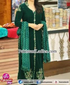 Pakistani Actress Sanam Jung Dresses Pics Jago Pakistan Hum TV Show 2015 Green