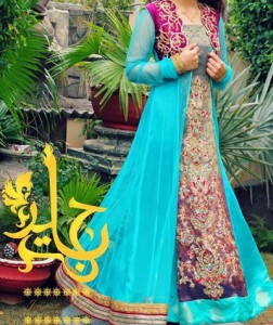 Pakistani-Double-Open--Panel-Style-Frock-Gown-Dresses-Collection-2015-Plazo-Palazzo-Designs