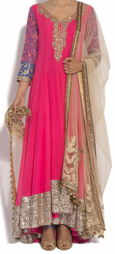 Pink Fancy Kalidar Frock Suits Manish Malhotra 2015