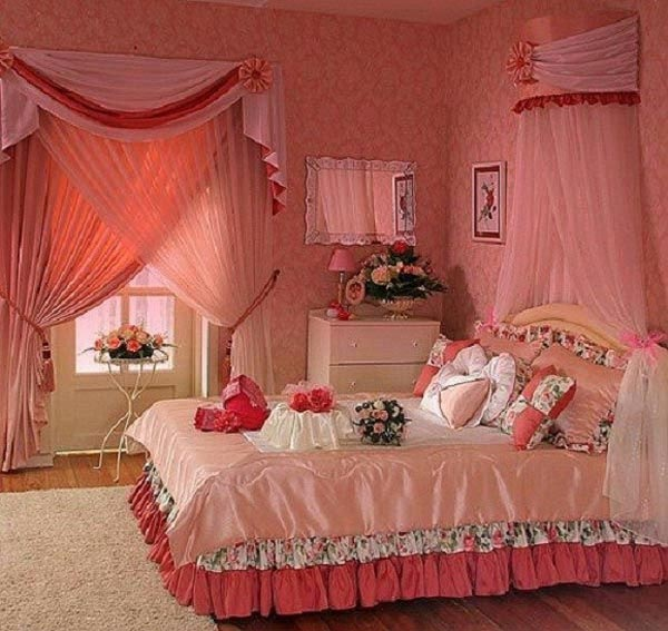 Pink home bedroom decoration ideas pics wallpaper 2015 new for Asian wedding bed decoration ideas