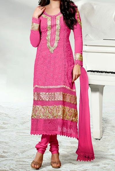 Pink Salwar Kameez Choori Pajama Designs 2015 Fashion Trends in Indian Suit Neck Gala