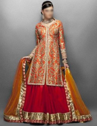 Punjabi Bridal Wedding Suits 2015 India Lehenga Choli Long open Shirt