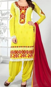 Punjabi-Salwar-Kameez-Suits-2015-for-Girls-in-India-Neck-Designs-Yellow