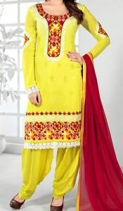 Punjabi-Salwar-Kameez-Suits-2015-for-Girls-in-India-Neck-Designs-Yellow