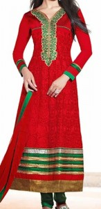 Red Color Punjabi Salwar Kameez Suits Neck Designs 2015 Dresses