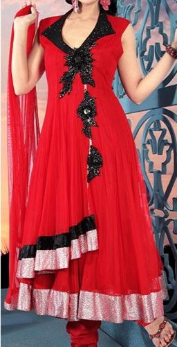 Red Colors Frocks Suits Dress 2015 Anarkali Angrakha