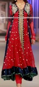 Red Colors Frocks Suits Dress 2015 Anarkali Umbrella Shirt