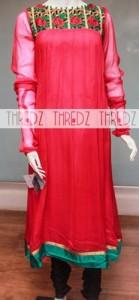 Red Colors Frocks Suits Dress 2015 Anarkali Umbrella Simple
