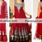 Red Color Suits Dress Designs Anarkali Umbrella Frocks 2015