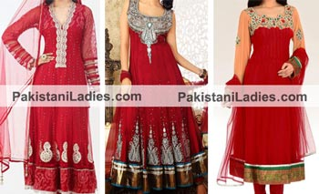 Red Colors Suits Dress Designs Anarkali Umbrella Frocks 2015