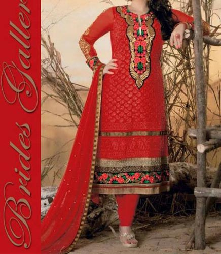 Red Colour Punjabi Salwar Kameez Suits Neck Designs 2015 Dresses