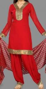 Red Punjabi Kurti Salwar Kameez Suits Neck Designs 2015 Dresses