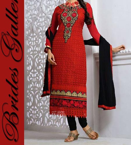 Red Punjabi Salwar Kameez Suits Neck Designs 2015 Dresses Brides-Galleria