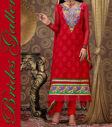 Red Punjabi Salwar Kameez Suits Neck Designs 2015 Dresses Chiffon